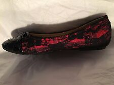 CLEARANCE sz 7,5 RETRO RED BALLET FLATS ROUND TOE ROCKABILLY BLACK LACE SHOES