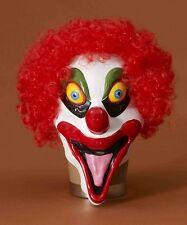 SMILELY THE CRAZY CLOWN LATEX OVERHEAD MASK w/ HAIR ADULT COSTUME ACCESSORY PROP