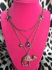Betsey Johnson Moroccan Morocco Adventure Camel Fuchsia Jewel Necklace VERY RARE