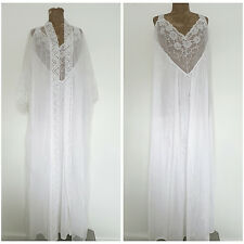 White Peignoir Wedding Gown Size 4X Plus Lace Sheer Robe Set Nylon Lingerie