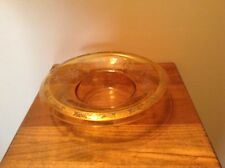 """Bright yellow Depression glass rolled rim etched w/gold trim 10"""" bowl"""