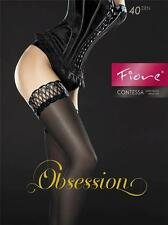 Fiore SATIN SHINE GLOSSY Black SHEER LACE NYLON Hold Ups THIGH HIGH Stockings XL