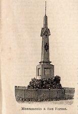Stampa antica SAN FERMO della BATTAGLIA obelisco a Garibaldi Como 1899 Old Print