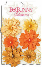 Scrapbooking Blossoms Flowers Orange Daisy with Pearls 6pcs BoBunny 11311465 NEW