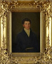 Early 19th Century Inglés Regencia Antiguo Pintura al óleo retrato de la escuela