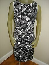 NWT Grace Elements Black/White DANCING MOTIF Sleeveless Dress Womens 12