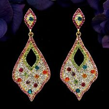 Gold Plated GP Multi-Color Crystal Leaf Chandelier Drop Dangle Earrings 8449 New