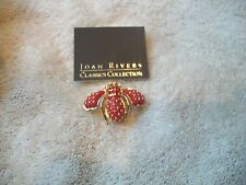 JOAN RIVERS Darling Red Goldtone BEE Pin Brooch w Green Crystal Eyes Free Ship
