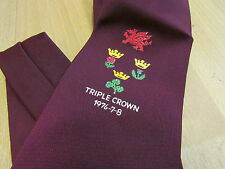 WALES Rugby Union TRIPLE CROWN 1976 - 7 - 8 with Logos Tie - SEE PICTURES