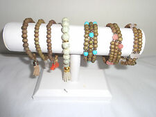 BEADED BRACLETS SEVEN PIECES BOHO TOSSEL STYLE WOMEN'S COSTUME JEWELRY STRETCH
