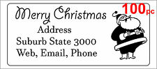 100 Personalised return address label custom sticker 56x25mm santa christmas