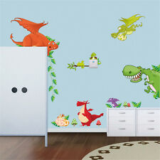 Dragon Nursery Children Baby Boy Art Playroom Bedroom Wall Sticker Decals UK