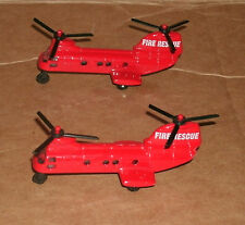 Two 1/375 Scale Fire Rescue Chinook Helicopter Model Emergency Chopper