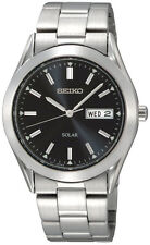 Seiko SNE039 Solar Stainless Steel Silver Tone Day Date Black Dial Men's Watch