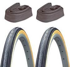 """2-Pack Kenda K35 Gumwall 27x1-1/4"""" Road Bike Tires & 2 Schrader Inner Tubes"""