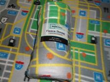 "**REDUCED** BOYS ""CAR TOWN & ROADS"" PRINT FLEECE THROW BLANKET 50"" X 60"" NEW"