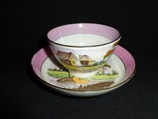 Antique 19th.c Salopian Soft Paste China Rural Scenery Cup & Saucer
