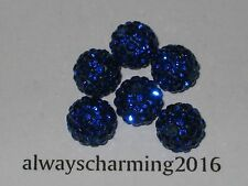 10MM ROUND RHINESTONE SAPPHIRE 6 BEADS FOR SPARKLE NECKLACE, EARRINGS BRACELET