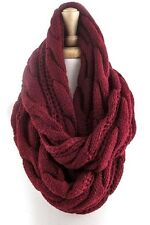 B167 Cable Knit Chunky Yarn Red Burgundy Infinity Scarf Boutique