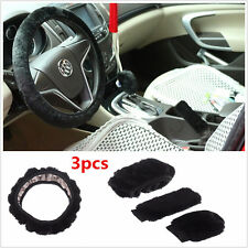 Black Soft Plush Woolen Warm Steering Wheel Cover Handbrake Car Accessory Kits