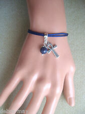 Dark Blue Lapis Bead and Egyptian Ankh Cross Charm Cord Bracelet in Gift Bag