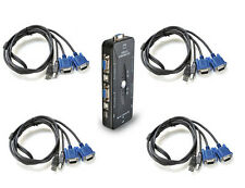 4 Port USB 2.0 KVM VGA/SVGA Switch Box + 4 Cables for PC Keyboard Mouse