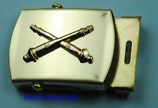 Field Artillery Tan Khaki Web Belt &  brass buckle - Army field artillery