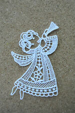 Lace motif - Christmas Angel & trumpet - applique/sew on trim/craft/card making
