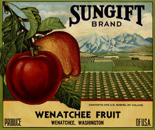 """SUNGIFT"" RARE ORIGINAL 1930s WENATCHEE WASHINGTON OLD APPLE FRUIT CRATE LABEL"