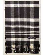 100% Cashmere Scarf Black White Check Graham Plaid SCOTLAND Wool Women R33
