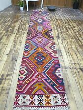 "Turkish Kilim Runner Rug,Carpet Runner,Hallway Rug 23,2""x136,2"" Area Rug Runner"