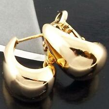 AN938 GENUINE REAL 18K YELLOW G/F GOLD SOLID STUD HUGGIE LONG DROP EARRINGS