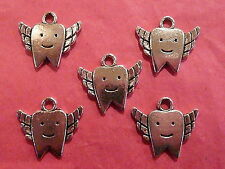 Tibetan Silver Tooth Charm 5 per pack - Tooth Fairy Themes