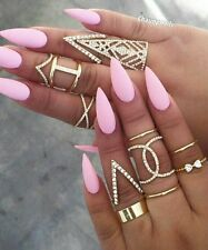 20 Hand Painted False Nails + Glue - Stiletto - Matte Baby Pink SALE