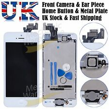 For iPhone 5 LCD Digitizer Display Touch Full Screen Home Button Camera White UK
