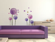 Wall Stickers Flowers Lovely Purple Dandelion Blowing Living Room Decoration PVC