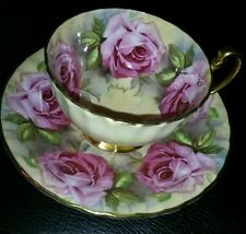 AYNSLEY- ENGLAND- BONE CHINA HAND PAINTED Pink Roses SIGNED CUP and SAUCER