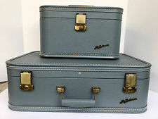 Vintage Lady Baltimore Makeup Cosmetic Train Hard Shell Case Blue Luggage