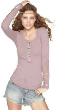 127326 NWD Free People Crochet Lace Henley Long Sleeve Purple Blouse Top XS