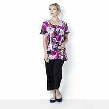 Casual & Co Print Jersey Top & Plain Crop Trouser Set Black Size Small New