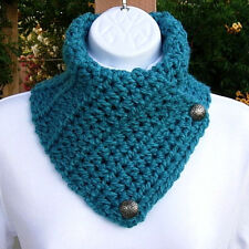 NECK WARMER SCARF Solid Turquoise Teal Blue Crochet Knit Buttoned Cowl, Buttons