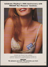 2004 TROJAN Condoms - Sexy Busty Woman TROJAN Condom Tucked in Bra - VINTAGE AD