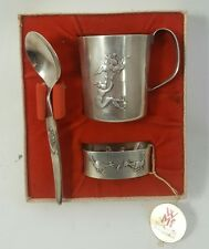 Vintage SILVER PLATE Cup Spoon Napkin Ring WURTENBURG METAL FACTORY Child's Set