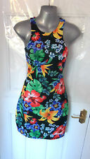 ❤ Gorgeous Size 10 Black Multi Tropical Dress Back Zip New with tags FREE UK P&P