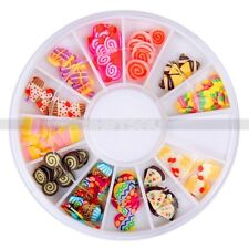 Hot Style Mixture 12 Styles 3D Clay Fimo Candy Cake Nail Art Tips Decor Wheel NA