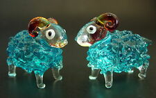 2 Tiny Glass SHEEP RAMS Turquoise Bubble Glass Ornaments Glass Animal Curio Gift