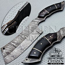 BEAUTIFUL CUSTOM HAND MADE DAMASCUS STEEL HUNTING KNIFE HANDLE BULL HORN