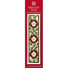 Red Heraldic Rose Counted Cross Stitch Bookmark Kit Textile Heritage BKHCR