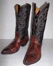 ladies NOCONA Lizard Cowboy Western Boots Size 6 D black brown exotic vintage