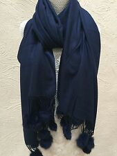 MAR & CO CASHMERE SCARVES SCARF PASHMINA SHAWL WRAP REAL FUR POM POMS GIFT IDEA